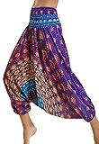 Pantalones de Yoga Mujer Harem Boho del Lazo del Pavo Real Flaral Funky #1 Flor Impresa-B