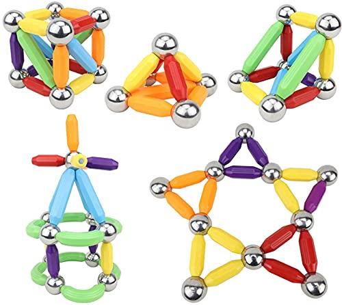 DigitBuilders - Barras de construcción magnéticas y bolas de 6 colores apilables juguetes para niños STEM Learning juguetes sensoriales para niños y niñas pequeños