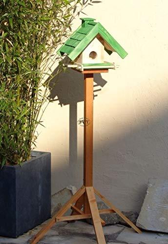 Vogelhaus mit Ständer BTV-X-VOWA3-MS-gras001 Schönes PREMIUM Vogelhaus mit Ständer KLASSIK-PREMIUM Vogelhaus 1,5 L Silo+ SICHTSCHEIBE RUND / GLAS, FUTTERVORRAT-SILO – VOGELFUTTERHAUS , wetterfestes Vogelfutterhaus MIT FUTTERSCHACHT-Futtersilo Futterstation Farbe grasgrün grün PURE GREEN kräftig tannengrün/natur, MIT TIEFEM WETTERSCHUTZ-DACH für trockenes Futter, mit Futterschacht zum Nachfüllen oben, 100% Massivholz, QUALITÄTSPRODUKT vom Schreiner - 4