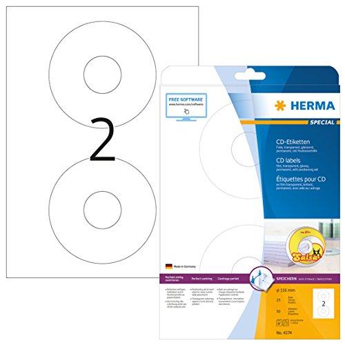 HERMA 4374 CD-/DVD-Etiketten inkl. Positionierhilfe DIN A4 transparent (Ø 116 mm, 25 Blatt, Folie, glänzend) selbstklebend, bedruckbar, permanent haftende CD-Aufkleber, 50 Klebeetiketten, durchsichtig