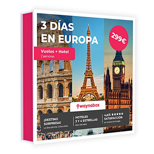 Caja Regalo - Viaje Sorpresa para Dos - Vuelos + 2 Noches en una Ciudad Europea - El Mejor Cofre de experiencias para Regalar