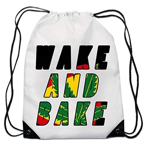 Wake and Bake Weed Ganja Smokers Slogan top Kordelzugtasche