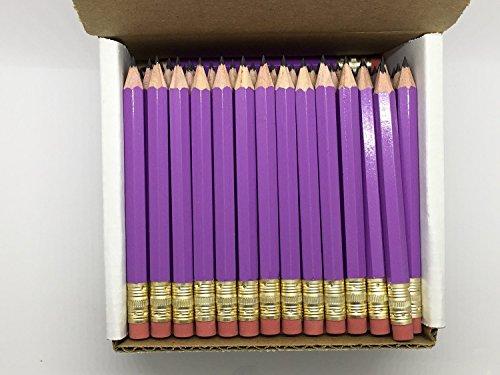Half Pencils with Eraser - Golf, Classroom, Pew, Short, Mini - Hexagon, Sharpened, Non Toxic, 2 Pencil, Color - Lilac (Box of 48) Purple Golf Pocket Pencils