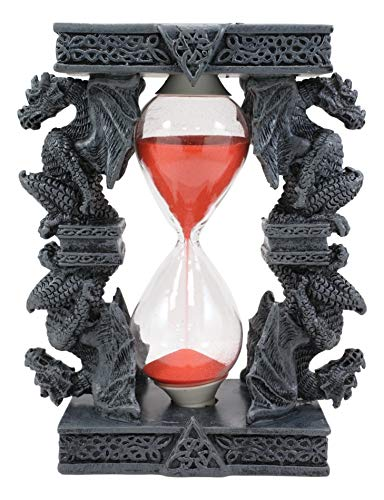 Ebros Gift Invertible Four Sentry Guardian Dragons On Gothic Tower Pedestal Pillars Sand Timer Figurine with Celtic Trinity Knotwork Dragon Hourglass Sandtimer Decorative Accent Fantasy Statue