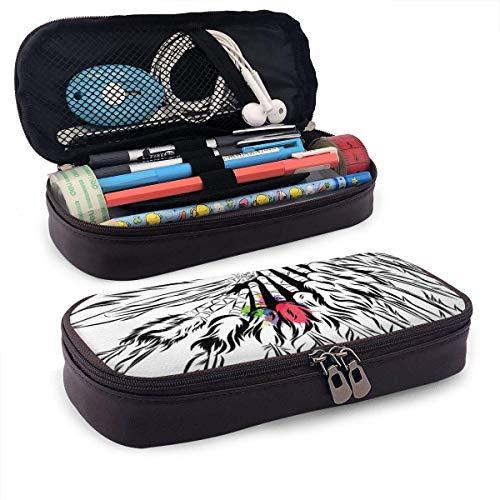 Pencil Case Big Capacity Make-up Pen Pouch Bag Leder Langlebige Studenten Briefpapier Halter Box Organizer für Schulbüro Geschenk Native American Headdress in Sketch Style mit