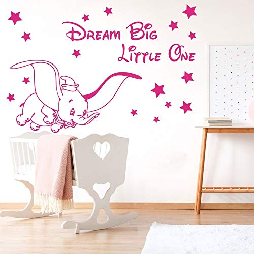 ganlanshu Elefant Stern Wandtattoo Traum großer Raum Cartoon Elefant Tier Vinyl Aufkleber Zitat Inspiration 98x146cm