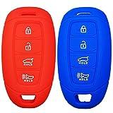 2Pcs Coolbestda 4buttons Key Fob Cover Skin Remote Case Keyless Entry Wallet Shell for Hyundai Kona Azera Grandeur IG Red Blue