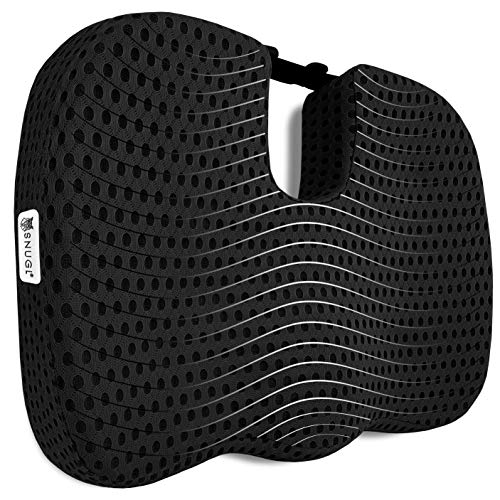 SNUGL Coccyx Cushion - Seat Pillow for Sciatica, Tailbone and Back Pain Relief - Blend of Memory Foam and Natural Latex for Optimal Support - Ideal for Car Seat, Office Chair, Wheelchair