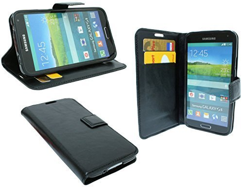 ENERGMiX Buchtasche kompatibel mit Samsung Galaxy S5 G900F Hülle Case Tasche Wallet BookStyle mit Standfunktion Schwarz