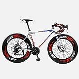 CANBIN 道路自転車、26インチ27スピードバイク、ダブルディスクブレーキ、高炭素鋼フレーム、ロード自転車レース、男性、女性大人 (Color : Red)