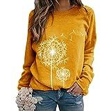 heekpek Camiseta Manga Larga Mujer Sudadera Mujer Impresión de Diente de León Cuello Redondo Casual Camisa Top Blusas Pullover Hoodie para Primavera Otoño y Invierno