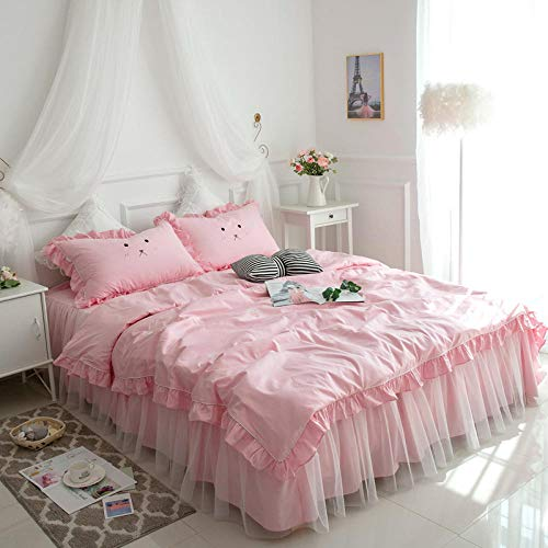 Best Price NIANMEI Korean Version of The Bed Skirt Cotton Four-Piece Korean Princess Wind Active Cotton Bed Cover Bedding-200x230cm