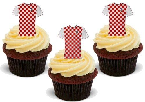 Fußball Shirt Kroatien - 12 essbare hochwertige stehende Waffeln Karte Kuchen Toppers Dekorationen, Football Shirt Croatia - 12 Edible Stand Up Premium Wafer Card Cake Toppers Decorations