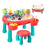 Kids Building Block Table-85 Pcs Blocks & 1 Paintbrush 7-in-1 Multi Activity Table and Chair Set Compatible for Toy Brick, TIME4DEALS Play & Drawing Table with Storage for Toddler Girl Boy 3~6yrs Gift