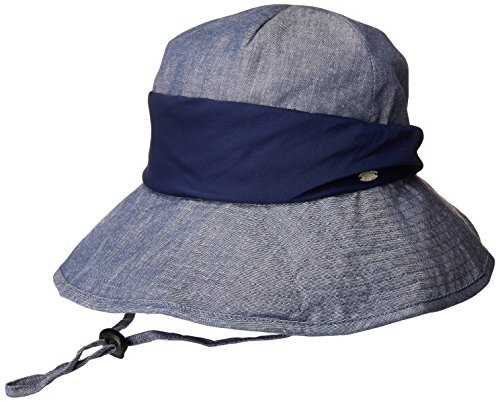SPF 50+ Cotton Ramie Packable Bucket Sun Hats for Women Wide Brim Sunhat with Chin Cord Summer Navy