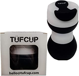 Tufcup Portable Spittoon Bottle for Chewing Tobacco - Reusable Spit Dipping Cup with Lid - Collapsible, Spill Resistant, Leak Proof Travel Spitter - Silicone Body - Fits Most Cup Holders, 17 Oz, Black