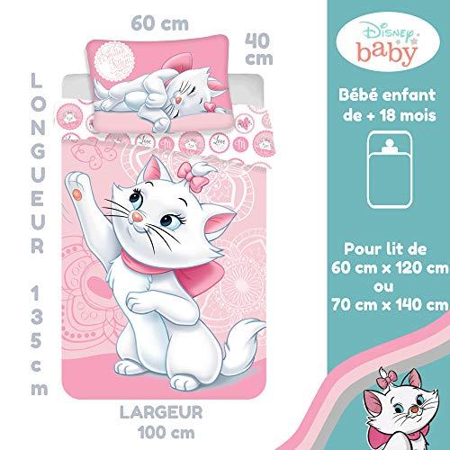 Marie Aristochats Parure de lit Bébé 100% Coton Housse de couette 100x135 cm + Taie...