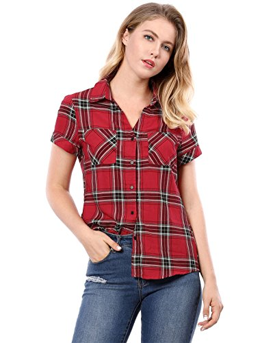 Allegra K Women's Casual Boyfriend Plaid Button Down Shirt Medium Red