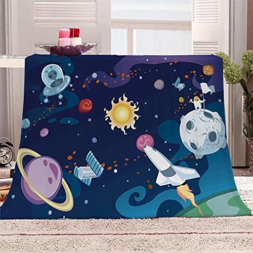 xczxc Manta de Franela astronave 3D Impreso de Microfibra Franela Mantas, Suave niños Adultos sofá Cama Manta Polar 180x200cm