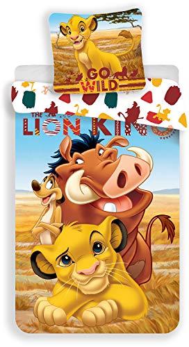 LesAccessoires Le Roi Lion Parure de lit 100% Coton - Housse de Couette Réversible 140x200cm + Taie d'oreiller 65x65 cm