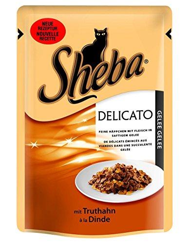 Sheba Katzenfutter Nassfutter Delikatesse in Gelee mit Truthahnin Gelee, 1 x 85 Portionsbeutel