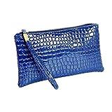 Mujer Cartera de Piel Liquidación Oferta Monedero Cocodrilo Móvil Bolso de Mano con Correa (Rosa Fucsia) - Azul, one size