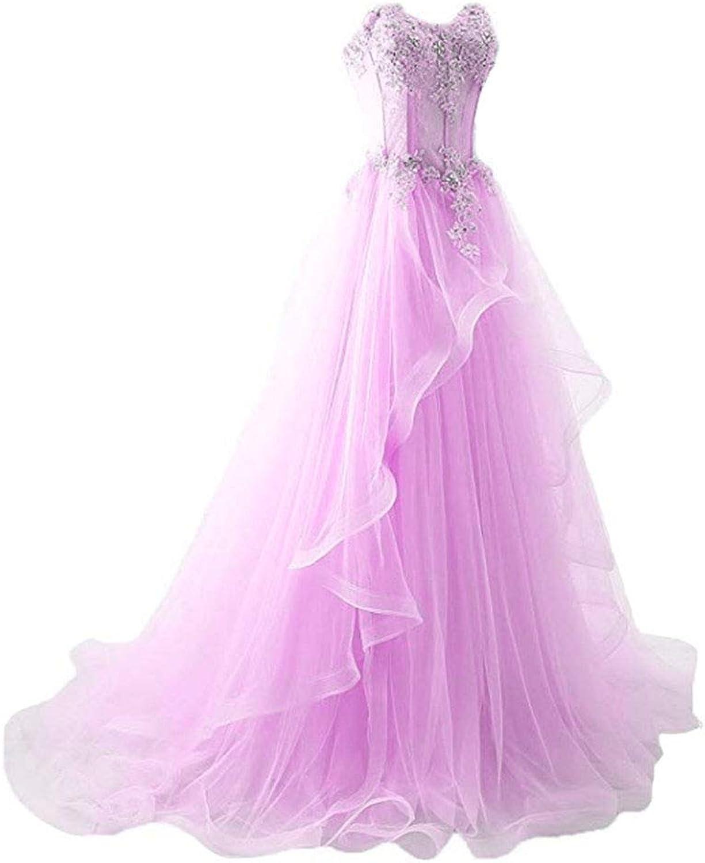 Ai Maria Women's Applique Sleeveless Sheer Waist Fishbone Symmetrical Peplum Long Prom Dress