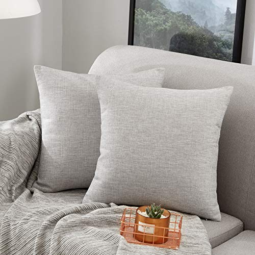 MERNETTE Pack of 2, Linen Decorative Square Throw Pillow Cover Cushion Covers Pillowcase, Home Decor Decorations For Sofa Couch Bed Chair 18x18 Inch/45x45 cm (Light Grey)