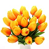 FLXUBAG 14' 20pcs Orange Silk Artificial Tulips Flower Real-Touch Fake Tulips for Party Home Decoration