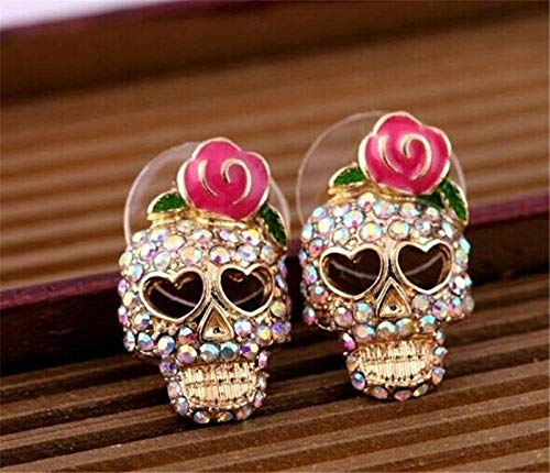 Women Set Auger Rhinestone Gold Plated Skeleton Skull Ear Studs Earrings Gift