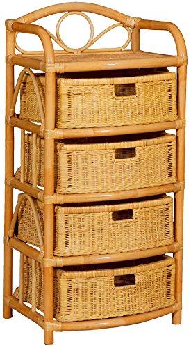 korb.outlet Étagère à 4 tiroirs en rotin Naturel Couleur Miel 53 x 43 x 109 cm