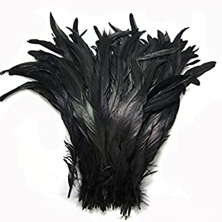 KOLIGHT Set of 50pcs 14~16inch Natural Rooster Coque Tail Feathers for DIY Home Wedding Party Office Decoration (Black)