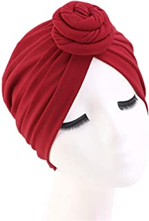 Xuan Ding Women Turban African Pattern Knot Headwrap Beanie Pre-Tied Bonnet Chemo Cap Hair Loss Hat