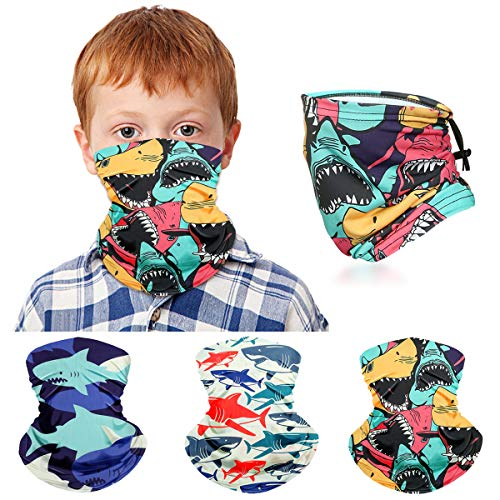 Kids Neck Gaiter Face Mask for Boys Girls Face Cover Scarf Bandana Balaclava Adjustable Reusable Washable 3 Pack (Shark)
