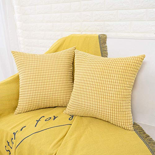 HWY 50 Decorative Throw Pillows Covers, Corduroy Soft Comfy Solid Yellow Pillow Covers Cushion Cases Set for Couch Sofa Bedroom Bed 18 x 18 inch Pack of 2, Accent Corn Striped Decoration