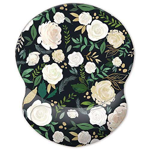 ITNRSIIET Mouse Pad, Ergonomic Mouse Pad with Gel Wrist Rest Support, Gaming Mouse Pad with Lycra Cloth, Non-Slip PU Base for Computer, Laptop, Home, Office & Travel Forest Rose
