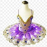 ZYLL Traje LED Niño Falda de Ballet Iluminado con luz Vestido de la Princesa del Vestido del tutú de la Danza del Traje de la Noche Las Luces de los Niños,Púrpura,110CM