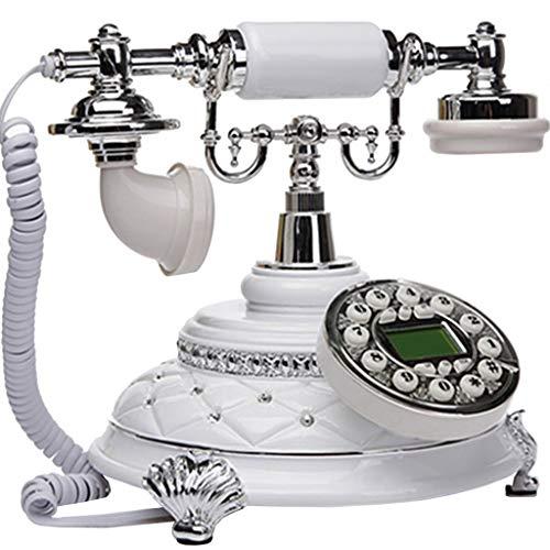 VERDELZ TeléFono Retro CláSico TeléFono Antiguo Europeo Oficina Antigua De Moda TeléFono Creativo Oficina TeléFono - Blanco