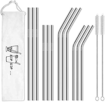 12-Pack Hiware Reusable Stainless Steel Metal Straws with Case