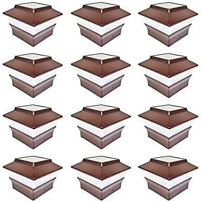 iGlow 12 Pack Copper/Black/Bronze/Brown/Silver/White Outdoor 4 x 4 Solar LED Post Deck Cap Square Fence Light