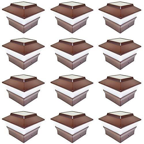 iGlow 12 Pack Brown Outdoor Garden 4 x 4 Solar LED Post Deck Cap Square Fence Light Landscape Lamp PVC Vinyl Plastic