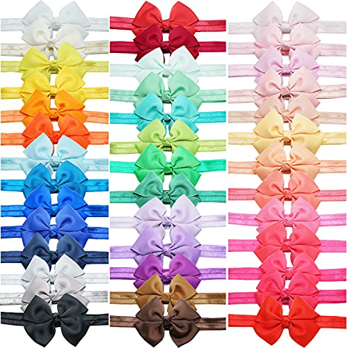 40 Colors Baby Girls Grosgrain Ribbon Hair Bows Headbands Hair Accessories 3.5Inch Bows Elastic Hairbands for Infants Newborn Toddlers