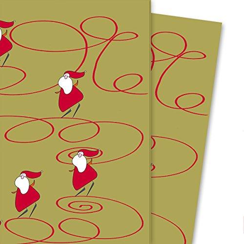 Vrolijk kerstcadeaupapier groen geel met schaats rijdende kerstman/Sinterklaas (4 vellen, 32 x 48 cm) decorpapier, papier om in te pakken, voor leuke cadeauverpakking en verrassingen