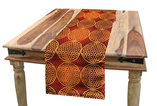 ABAKUHAUS Victoriano Camino de Mesa, Flor Medieval Tonos, Decorativo para el Comedor o Sala de Estar Fácil de Limpiar, 40 x 180 cm, Mostaza Naranja