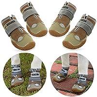 ???et Bottes pour Chien de Protection, Lot de 4 étanche Chaussures de Chien pour Chiens de Taille Moyenne et Grande - Kaki(7#)