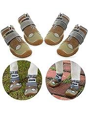 Нсрet Zapatos Perro, 4 Pcs Respirable Zapatos Antideslizantes para Perros, Antideslizante y elástica Resistente para Mediano y Grandes Perros