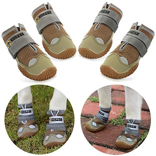 Нсрet Zapatos Perro, 4 Pcs Respirable Zapatos Antideslizantes para Perros, Antideslizante y elástica Resistente para Mediano y Grandes Perros (5#)