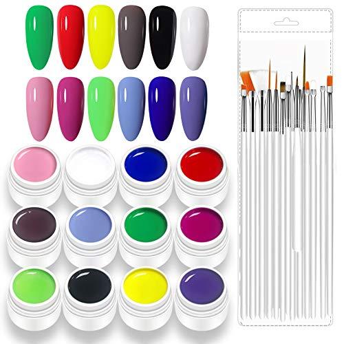 Freeorr 12 Farben Nagellack Gel Set UV Farbgel, mit 15 Nail Art-Pinseln, UV LED Nagelkleber Nail Art Pigment Gel Kit-Set B