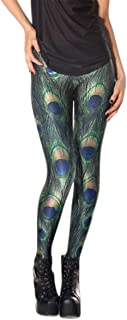 Women Fashion Peacock Feather Pattern Leggings Elestic High Waisted Pants for Fitness Workout Yoga