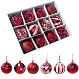 Limeow Bolas de Navidad Brillante Brillante Mate Bolas de Navidad combinadas Bolas de Navidad Decoración De Bolas Brillo Rojo 12 Piezas para Navidad Adornos árbol de Fiesta decoración de Navidad